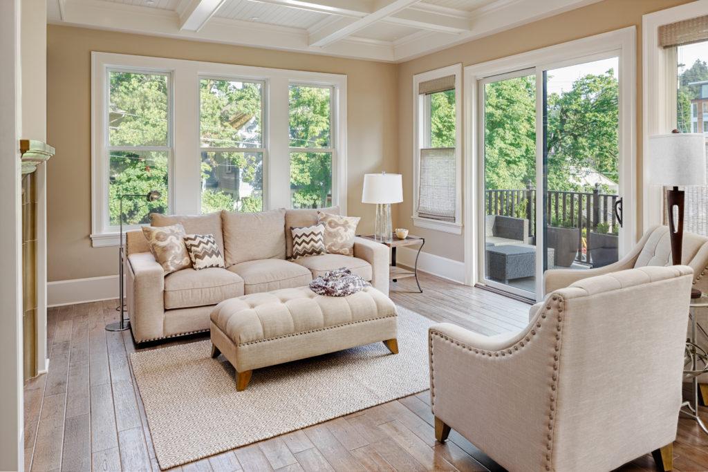 Beautiful living room with hardwood floors in new luxury home