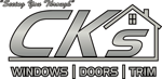 CK's Windows and Doors logo in silver